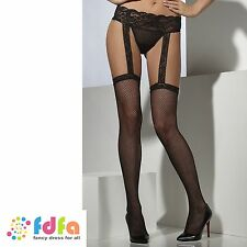 BLACK FISHNET HOLD UPS STOCKINGS SUSPENDER BELT ladies accessory womens hosiery