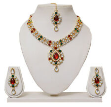 Designer Gold Plated Studded Diamonds Kundan Necklace Earring Jewellery Set