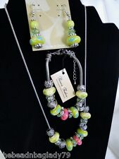 NEW MURANO GLASS BEADS SILVER CRYSTAL NECKLACE BRACELET EARRINGS GREEN BLUE PINK