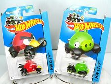 NOC ANGRY BIRDS HOT WHEELS New RED BIRD & MINION PIG New 2013 Mattel - Lot of 2