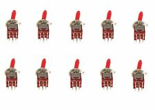 10 Subminiature DPDT Toggle Switch ON/ON with RED Toggle Handle