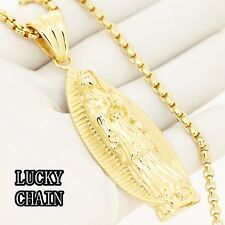 """STAINLESS STEEL GOLD VIRGIN MARY PENDANT 30""""ROUND BOX CHAIN/66g/E652"""