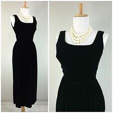 VINTAGE 1950s BLACK DRESS VELVET HOURGLASS HOLLYWOOD GLAM MARILYN GOWN S
