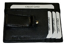 METAL MONEY CLIP HOLDER WITH ID AT THE BACK NEW BLACK GENUINE LEATHER