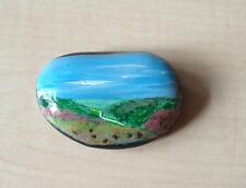 Hand Painted Pebble, Miniature Landscape, Meditation Stone (252)