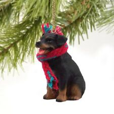 ROTTWEILER dog HAND PAINTED ORNAMENT Resin Figurine CHRISTMAS Holiday Puppy NEW