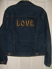 Star Blue Denim Jacket ~ Custom Embroidered ~ LOVE ~ Not Available Anywhere Else