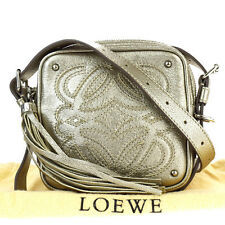 Authentic LOEWE Logos Fringe Cross Body Shoulder Bag Leather Silver 09S252