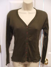 NWT J.L.PLUM  ribbed olive 100% COTTON Cardigan  Sweater S/M