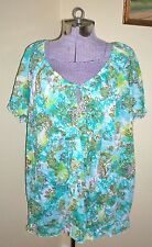 """Women's Plus Size 18/20 French Laundry Peasant Shirt Blouse Top 56"""" Bust Crinkle"""