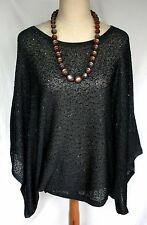 Jamie Gries Dark Gray Metallic Sequin Sparkle Drape Sleeve Top - M Bat Wing
