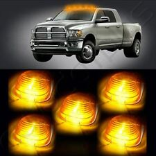 5 Cab Roof Top White 6 LED Lights Amber Lens Marker Running Light truck RV 4X4