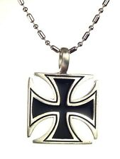 """BUTW-  German Iron cross pewter pendant necklace with 24"""" chain 5330K"""