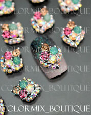 #CA072 Deluxe10pcs Nail Art Deco Colorful Alloy Jewelry AB Glitter Rhinestones