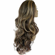 Ladies 3/4 WIG Half Fall Clip In Hair Extension WAVY Dark Brown/Blonde #4/613