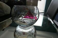 collectible glass bowl. has a stained glass pattern design, very modern