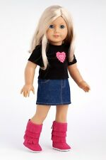 Rock Star - Clothes for 18 American Girl Doll Jeans Mini Skirt T-Shirt Pink Boot