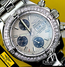 MEN'S BREITLING SUPER OCEAN STAINLES STEEL RARE DAY DATE MODEL - REAL DIAMONDS