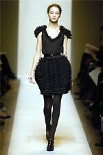 BOTTEGA VENETA Black CREPE CHIFFON Tiered Ruffle RUNWAY Evening Dress NEW 4/40