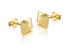 9ct Yellow Gold Diamond Cut Pyramid Stud Earrings