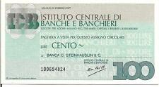 ITALY, 100 LIRE, BANK CHEQUE ? 1977