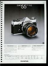 Factory 1978 Olympus Zuiko 55mm F1.2 Camera Lens Dealer Data Sheet Page