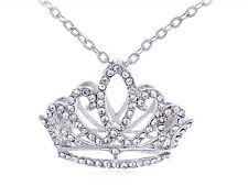 US Princess Tiara Girl Birthday Crown Clear Diamante Rhinestone Pendant Necklace