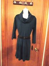 "Ladies ""AB Studio"" Size XL, Teal, Turtleneck, Long Sleeve, Belted, Sweater Dress"