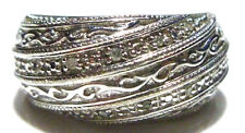 BGE BRADFORD EXCHANGE STERLING SILVER & DIAMOND WOMENS RING BAND SIZE 5