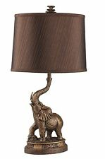 """New 27""""H Bronze Elephant Table Lamp, Bronze Finish With Shade"""