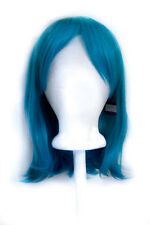 "15"" Shoulder Length Straight Cut with Long Bangs Turquoise Blue Cosplay Wig NEW"