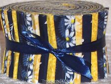 "Quilting Fabric Jelly Roll Strips 20~2.5"" Navy Blue Yellow White Floral Cotton"