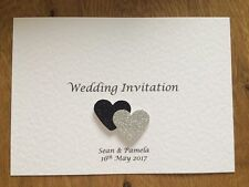 50 Handmade Personalised Wedding Invites Glitter Hearts **FREE Envelopes**
