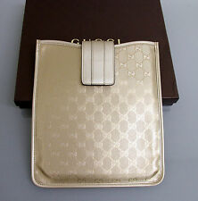 New Authentic GUCCI GG Monogram iPad Case Gold Imprime w/Box 256575 9504