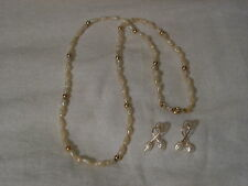 ...14k Gold Beads,Freshwater Pearls Necklace & Pierced Earrings...
