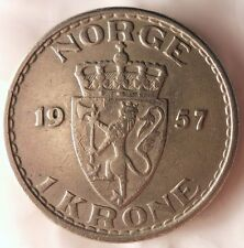 1957 NORWAY KRONE - High Quality Coin - FREE SHIPPING - Norway Bin #1