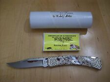 CUSTOM PROTO BUCK KNIFE 110 Michael Prater ~ PEARL~OYSTER SHELL~ BLOOD TURQUOISE