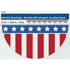 Patriotic Plastic Red White Blue Bunting  12 Feet Military Election Party Decor