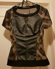 KAREN MILLEN BLACK CAMOUFLAGE KHAKI ZIP LEATHER PANEL JUMPER DRESS TOP SHIRT 8