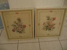 Beautiful Pair Of  Vintage Framed Floral Lithographs Print Pictures Signed