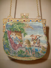 ANTIQUE SCENIC NEEDLE PETIT POINT TAPESTRY PURSE JEWELED FRAME