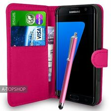 Pink Wallet Case PU Leather Book Cover For Samsung Galaxy S7 Edge G935 Mobile