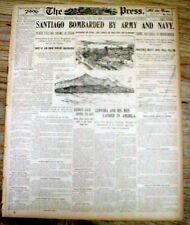 1898 Spanish-American War hdl newspaper SIEGE OF SANTIAGO Cuba by US Army & Navy