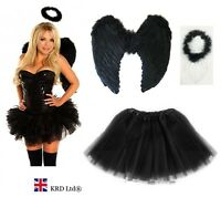 Dark Angel Fairy Feather Wings Halo Fancy Dress Costume Outfit Hen Party BLACK