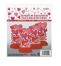 San Valentino Cuore Forma A NIDO D'APE Tabella Decorazioni in Rosso e rosa Confezione da 4