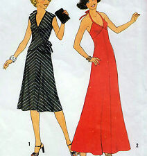 "Vintage 70s HALTER NECK DRESS Sewing Pattern Bust 32.5"" Sz 8 EVENING Knits RETRO"