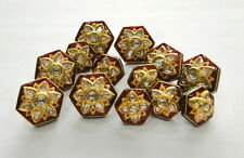 Vintage antique 20k Gold Diamond polki kundan enamel work Button set Rajasthan