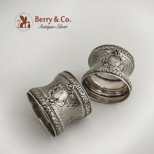 Engine Turned Pair of Napkin Rings French Sterling Silver 1890