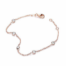 J-Jaz Rose Gold plated Cubic Zirconia five stone Sterling silver Ladies Bracelet