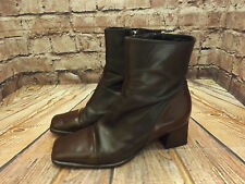 Ladies Bally Brown ALL Leather Zip Fastening Mid Heel Ankle Boots EU 38.5
